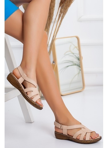 Dilimler Ayakkabı Sandalet Bej